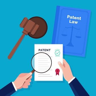Concepto de derecho de patentes con documentos