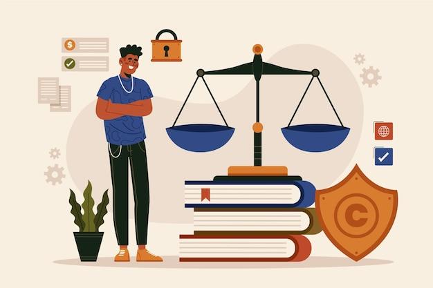 Concepto de derecho de patentes con hombre y balanza
