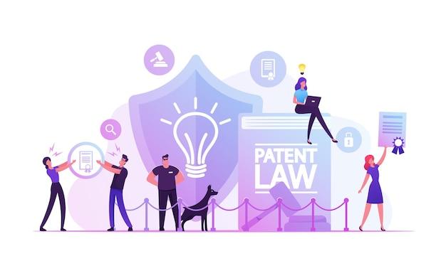Concepto de derecho de patentes. personas que protegen sus derechos de autoría y creación de diferentes productos mentales. ilustración plana de dibujos animados