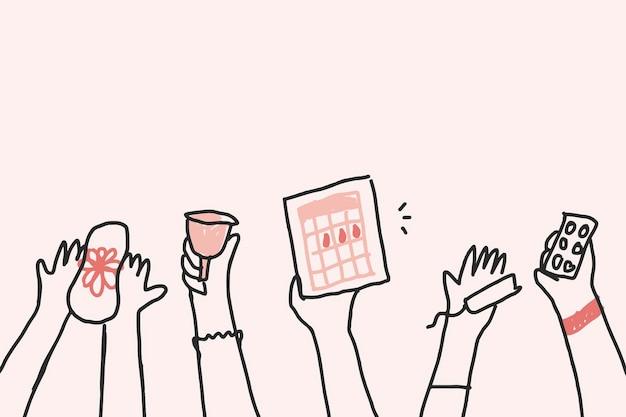 Concepto de derechos de la mujer y los impuestos vectoriales del doodle del artículo del período menstrual