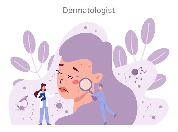 Concepto de dermatólogo. especialista en dermatología, tratamiento de la piel del rostro. idea de belleza y salud. esquema de la epidermis de la piel.