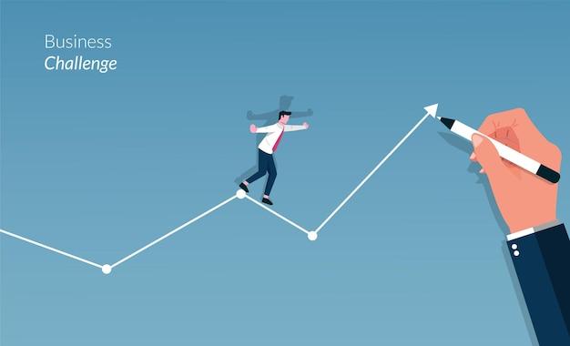 Concepto de desafío empresarial con gran mano dibujando las líneas y empresario caminando sobre él.