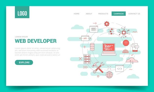 Concepto de desarrollador web con icono de círculo
