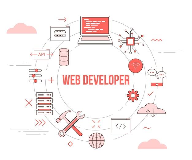 Concepto de desarrollador web o sitio web con banner de plantilla de conjunto de iconos