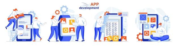 Concepto de desarrollo de aplicaciones, creación de conjuntos, diseño de aplicaciones, lugares de elementos de la interfaz