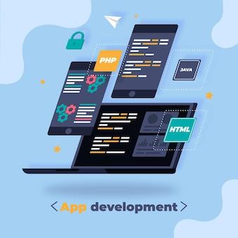 Concepto de desarrollo de aplicaciones con dispositivos.