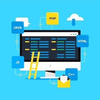 Concepto de desarrollo de aplicaciones con escritorio