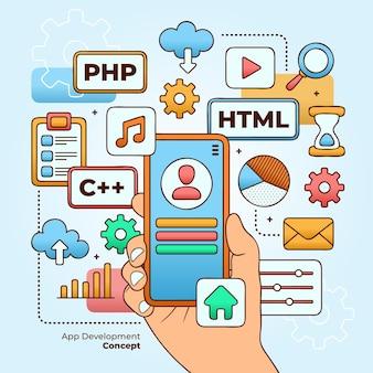 Concepto de desarrollo de aplicaciones ilustrado