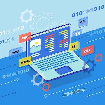 Concepto de desarrollo de aplicaciones con laptop