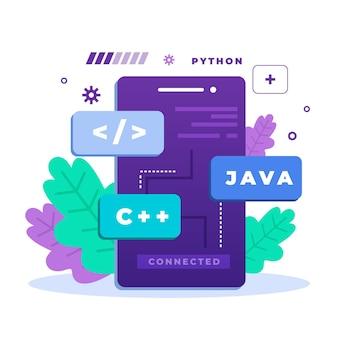 Concepto de desarrollo de aplicaciones con lenguajes de programación.