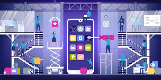 Concepto de desarrollo de aplicaciones móviles con personajes ilustración plana