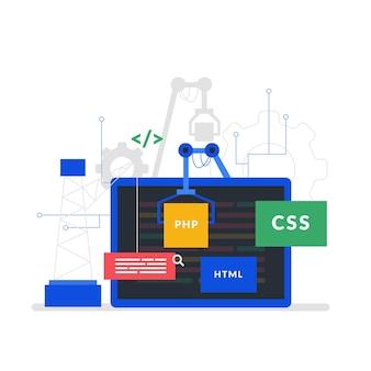 Concepto de desarrollo de aplicaciones con pantalla de portátil