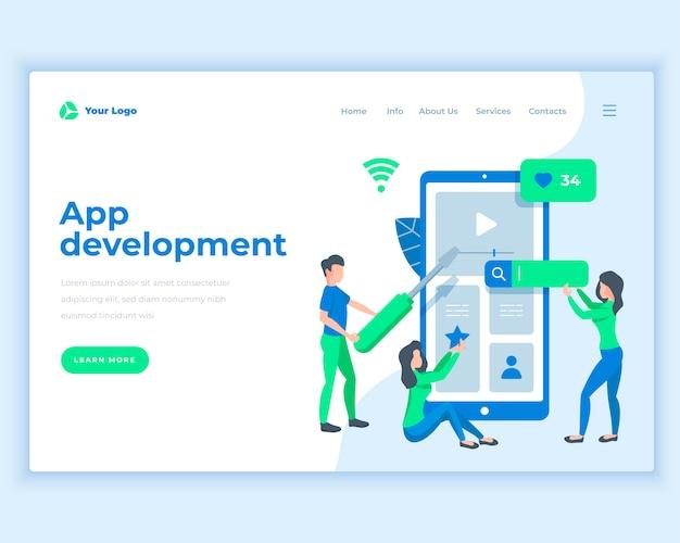 Concepto de desarrollo de aplicaciones de plantilla de página de aterrizaje con personas de oficina.