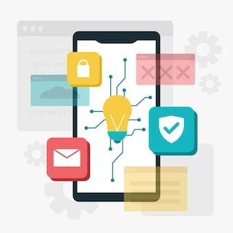 Concepto de desarrollo de aplicaciones con teléfono y bombilla.