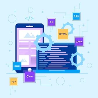 Concepto de desarrollo de aplicaciones con teléfono y computadora portátil