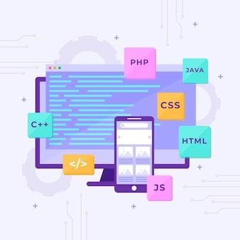 Concepto de desarrollo de aplicaciones con teléfono y escritorio.