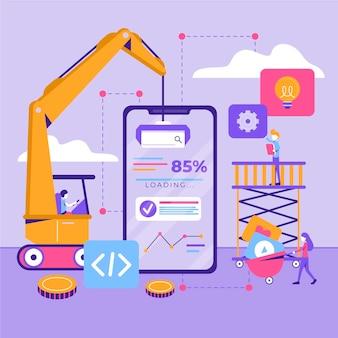 Concepto de desarrollo de aplicaciones con teléfono y grúa.
