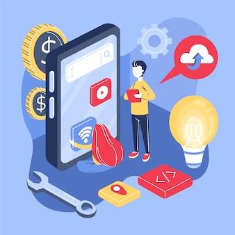 Concepto de desarrollo de aplicaciones con teléfono y personas.