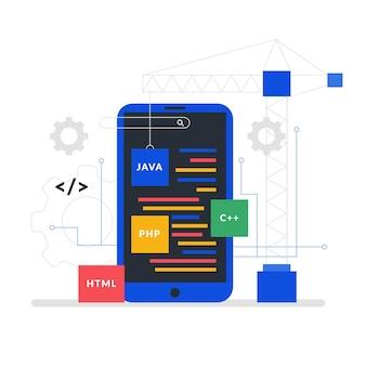 Concepto de desarrollo de aplicaciones de teléfonos inteligentes