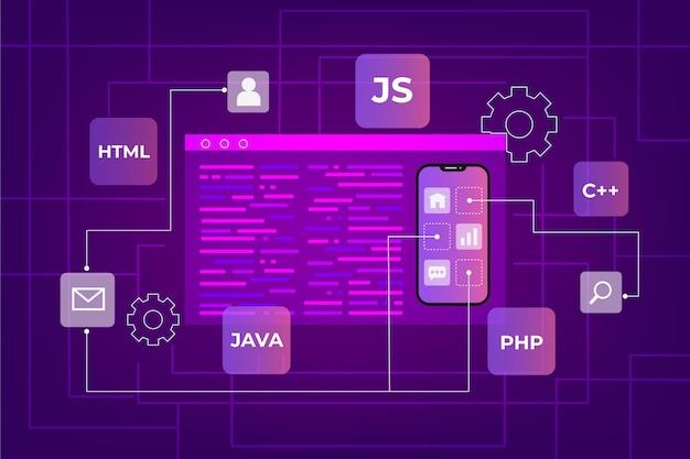 Concepto de desarrollo de aplicaciones con teléfonos y lenguajes de codificación.