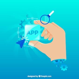 Concepto de desarrollo de una app con diseño plano
