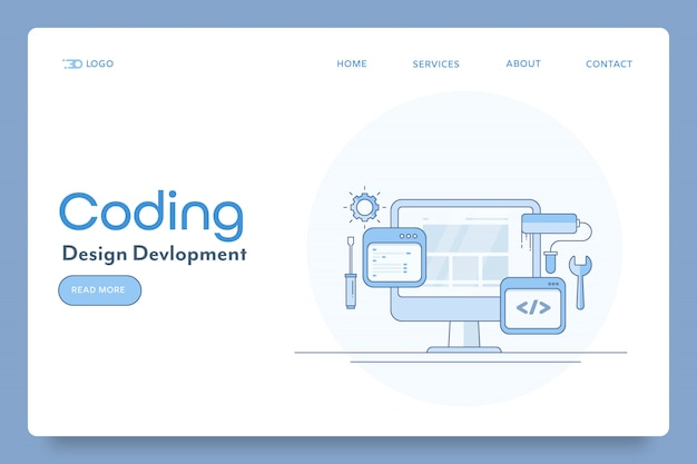 Concepto de desarrollo de diseño de sitios web