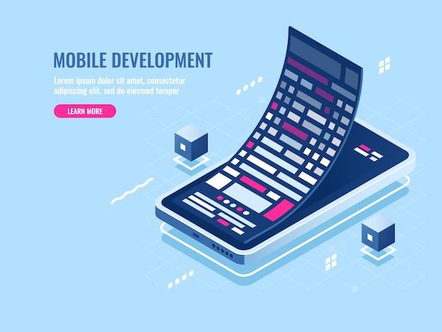 Concepto de desarrollo móvil, rollo de mensajes, programación de software para teléfono móvil.
