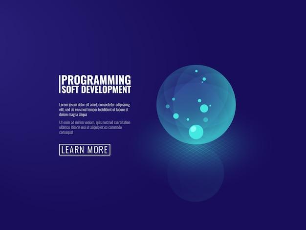 Concepto de desarrollo de nuevas tecnologías de icono de bola luminosa transparente.