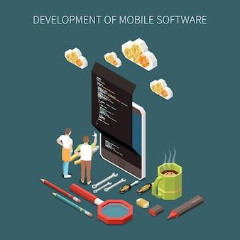 Concepto de desarrollo de programación con símbolos de software móvil isométricos.