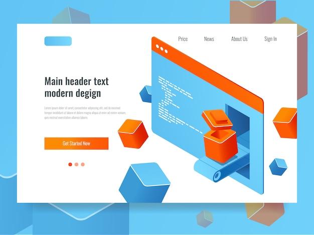 Concepto de desarrollo de sitios web, optimización de motores de búsqueda, programación de complementos de módulos adicionales