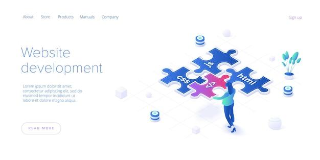 Concepto de desarrollo web en diseño isométrico. desarrolladores o diseñadores que trabajan en aplicaciones de internet o servicios en línea. plantilla de diseño de banner web.