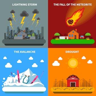 Concepto de desastre 4 iconos planos banner cuadrado