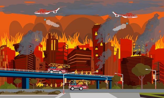 Concepto de desastre humano. extinguir el fuego de la ciudad.