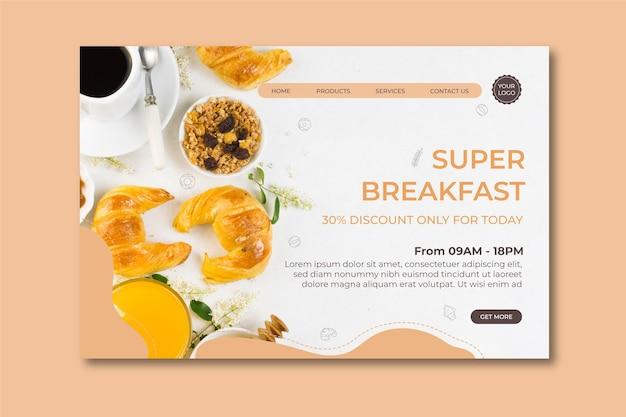 Concepto de desayuno página de inicio