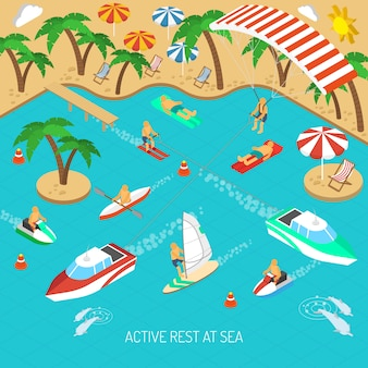 Concepto de descanso activo en el mar.
