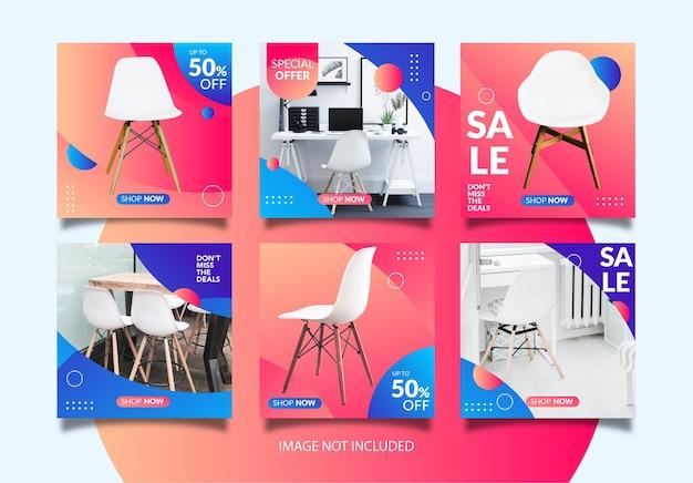 Concepto de descuento sobre ventas de sillas. plantilla de publicación de instagram para ventas de sillas