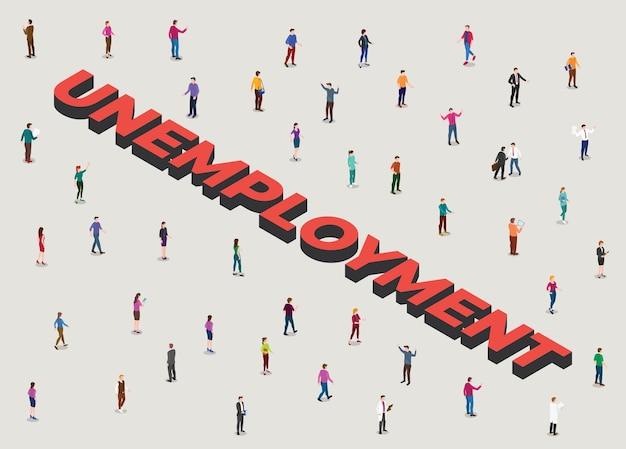 Concepto de desempleo con multitud de personas al lado de un empleo de texto grande con ilustración de estilo isométrico moderno