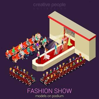 Concepto de desfile de moda modelos femeninos de fotos caminando en el podio de la escena que demuestran la ropa nueva se visten isométrica plana.