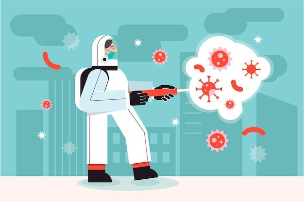 Concepto de desinfección de virus