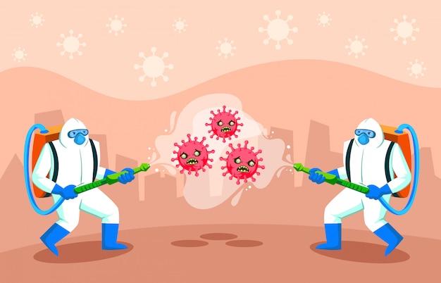 Concepto de desinfección de virus.