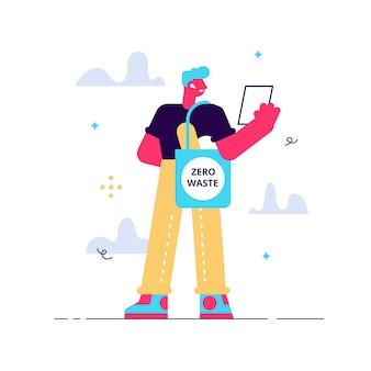 Concepto de desperdicio cero, personaje milenario masculino joven que lleva comestibles en una bolsa ecológica reutilizable