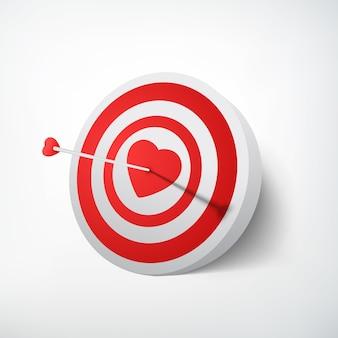 Concepto de destino del día de san valentín con la flecha que golpea el tablero de dardos en corazón rojo sobre blanco aislado