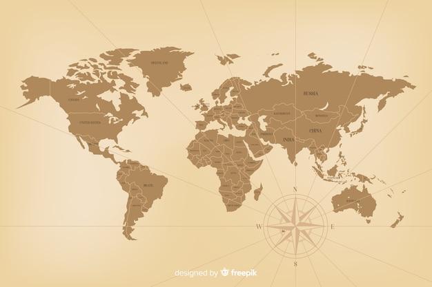 Concepto detallado del mapa del mundo vintage