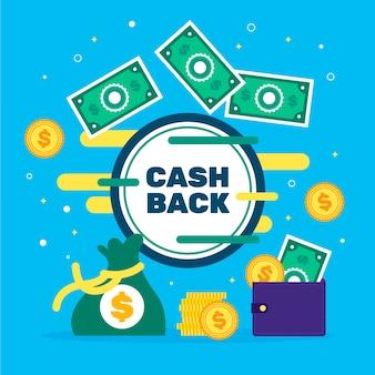 Concepto de devolución de dinero con billetes