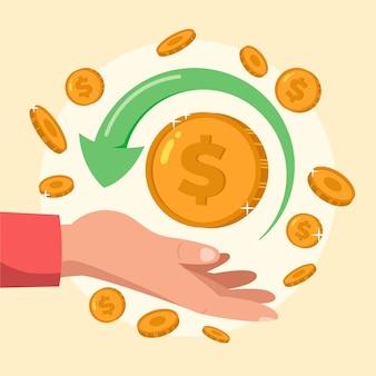 Concepto de devolución de dinero colorido ilustrado