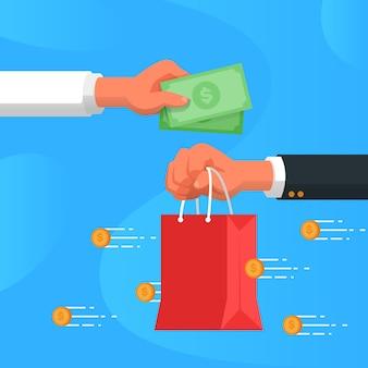 Concepto de devolución de dinero con compras