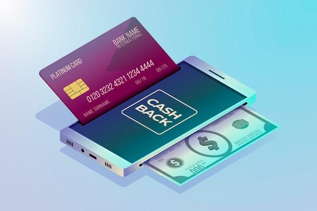 Concepto de devolución de dinero con dinero