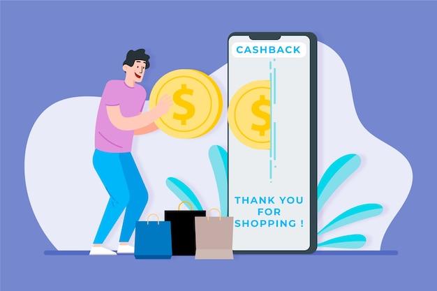 Concepto de devolución de dinero con hombre y teléfono inteligente
