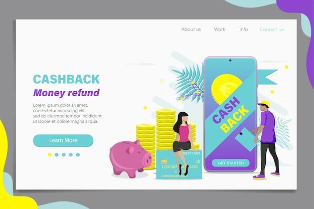 Concepto de devolución de dinero en línea. diseño de plantilla de página de destino o banner web. ilustración plana.