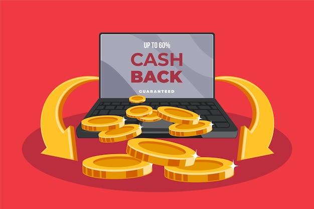 Concepto de devolución de dinero con monedas y computadora portátil